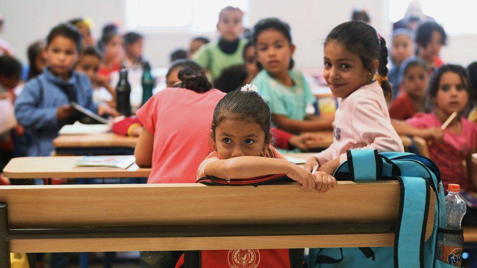 Refugee children in class