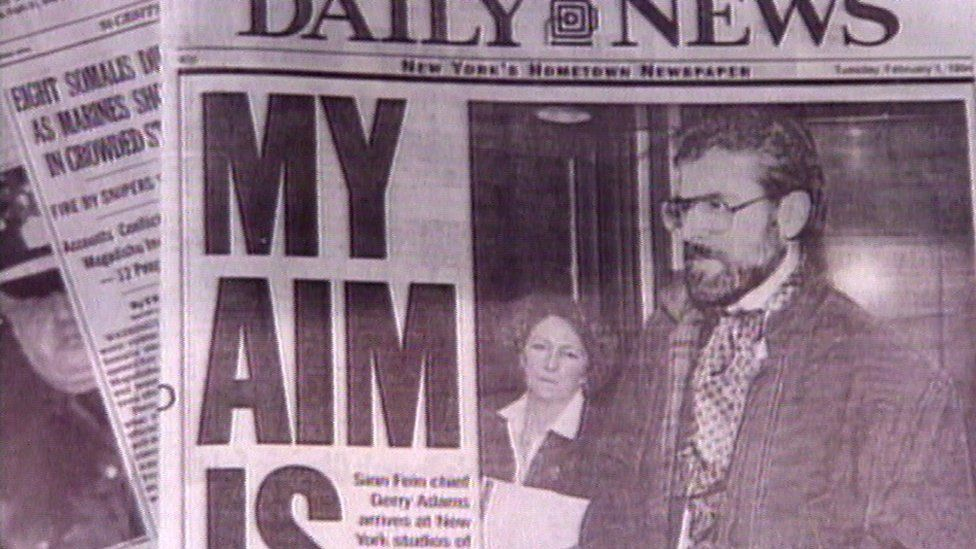 Gerry Adams on the front pages of New York newspapers in 1994