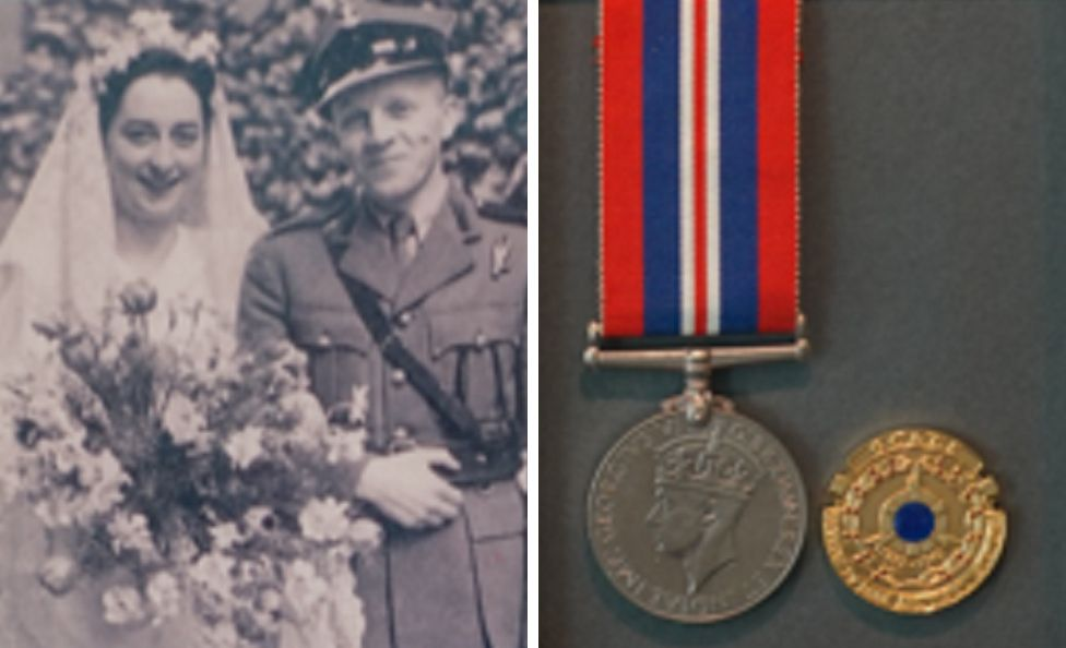 (Left) June Randle married British Army Major Stanislaw Wrobel (right) her service medals