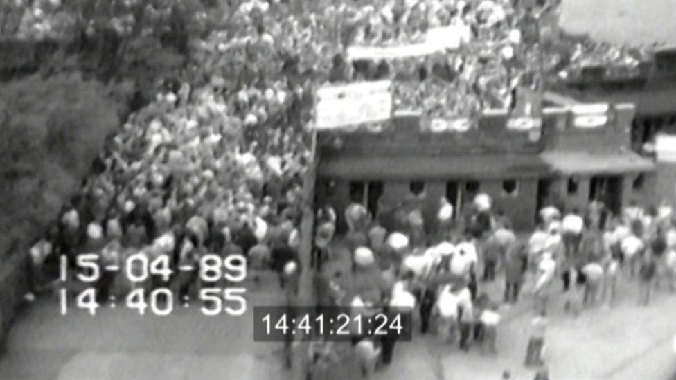View of crowding at entrance to Hillsborough stadium at 2.41pm