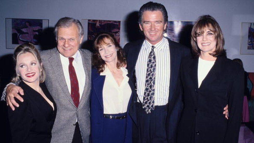 """Dallas"" cast members Charlene Tilton, Ken Kercheval, Mary Crosby, Patrick Duffy and Linda Gray"