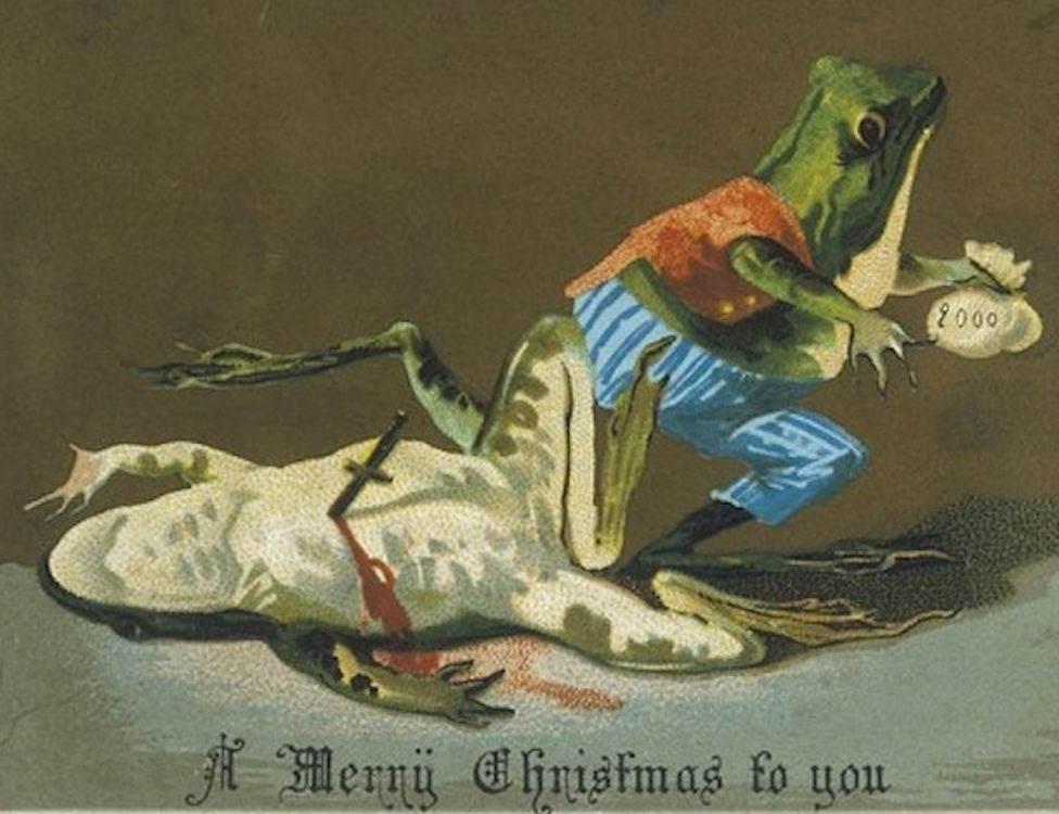 vintage christmas card showing one frog stabbing and robbing another