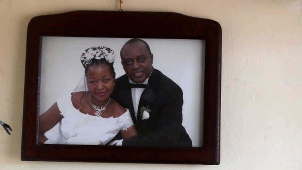 A wedding photo of King Charles Wesley Mumbere.
