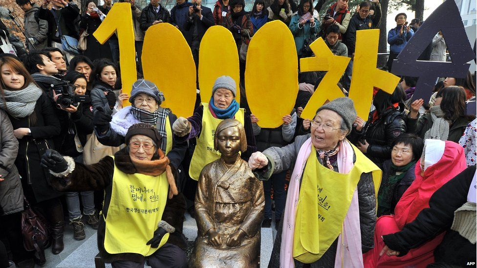 South Korean elderly women (yellow vests), who served as sex slaves for Japanese soldiers during World War II, hug the statue of a South Korean teenage girl in traditional costume called the 'peace monument' during the 1,000th weekly protest in front of the Japanese embassy in Seoul on 14 December 2011.