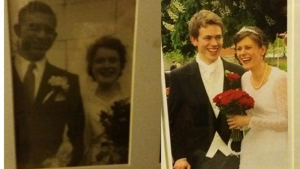 Wedding photo 1951 and wedding photo 2014