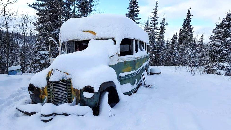 The Into the Wild bus in snow