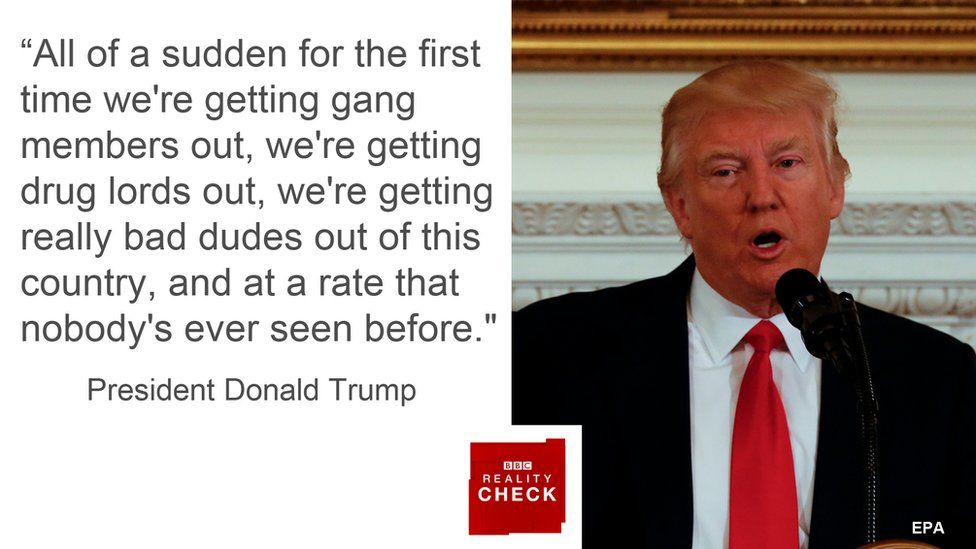 Donald Trump saying: All of a sudden for the first time we're getting gang members out, we're getting drug lords out, we're getting really bad dudes out of this country and at a rate that nobody's ever seen before.