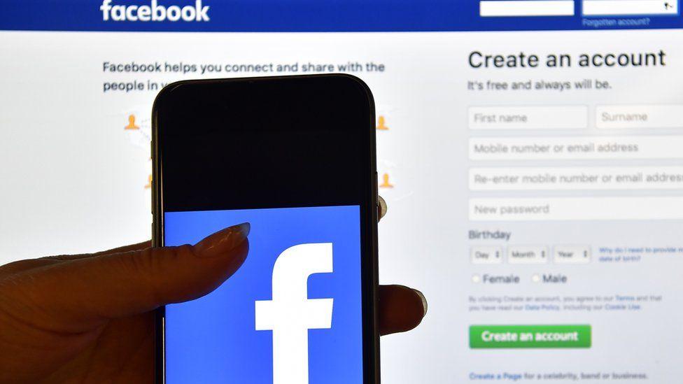 Facebook displayed on phone