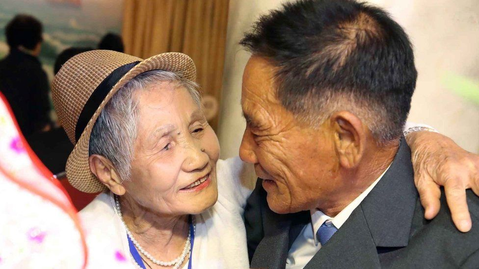 LeeKeum-seom (L), 92, of South Korea meets with her North Korean son Lee Sung-chul (R), 71, during the inter-Korean family reunions at the Mount Kumgang resort, North Korea, 20 August 2018