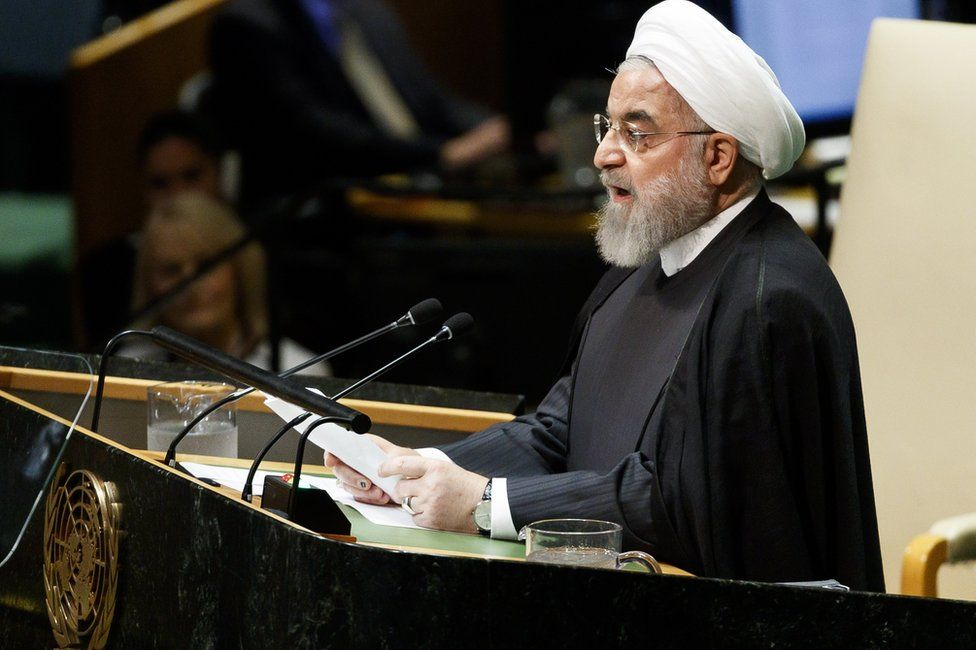 Hassan Rouhani speaking at the UN General Assembly
