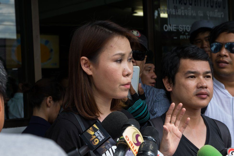 Picture of Thai activists who have filed complaints over the missing plaque