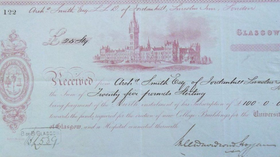 Donation of £100 by Archibald Smith II to Glasgow University in 1870