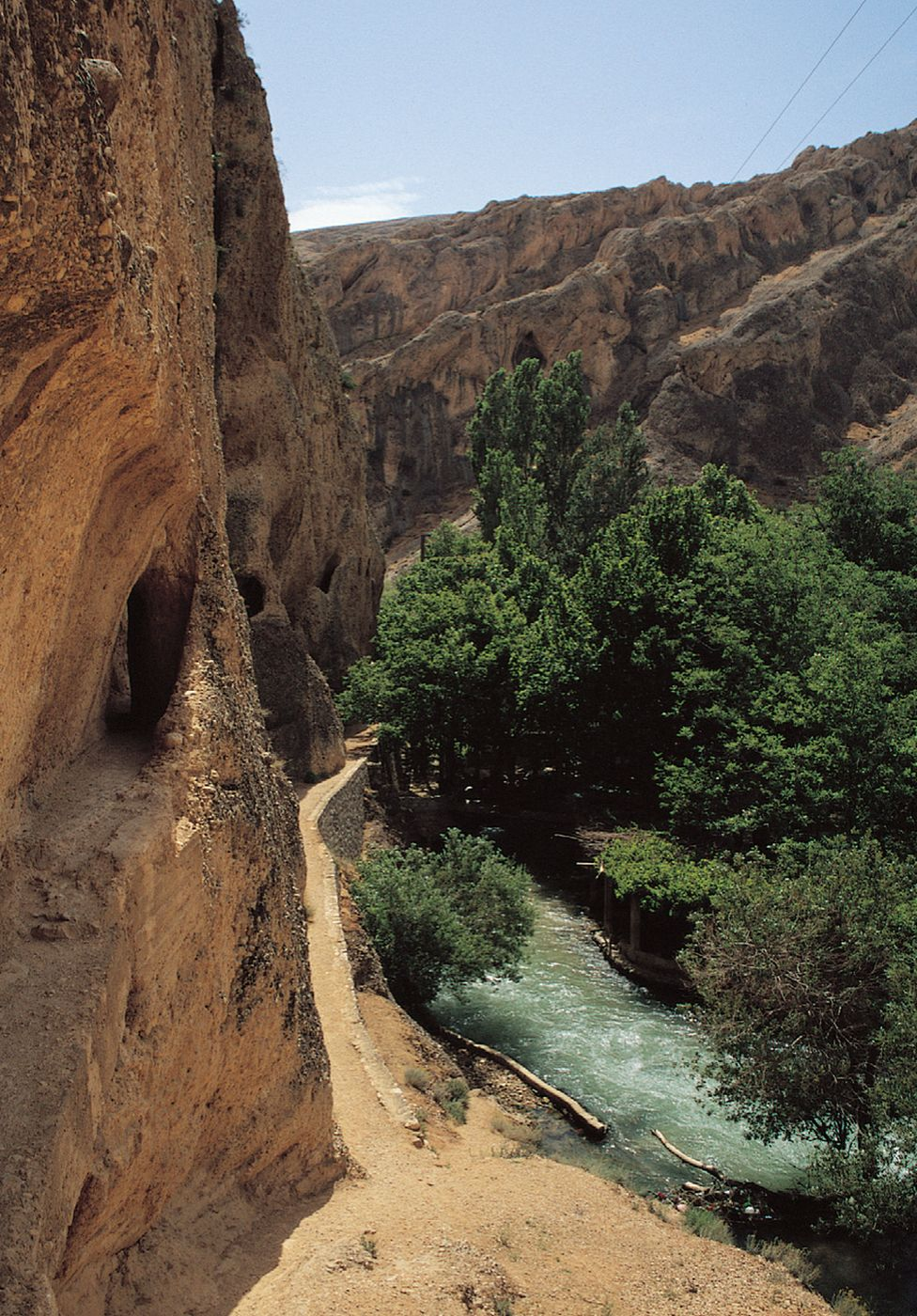 Barada river and Gorge with Roman aqueduct system in cliffs