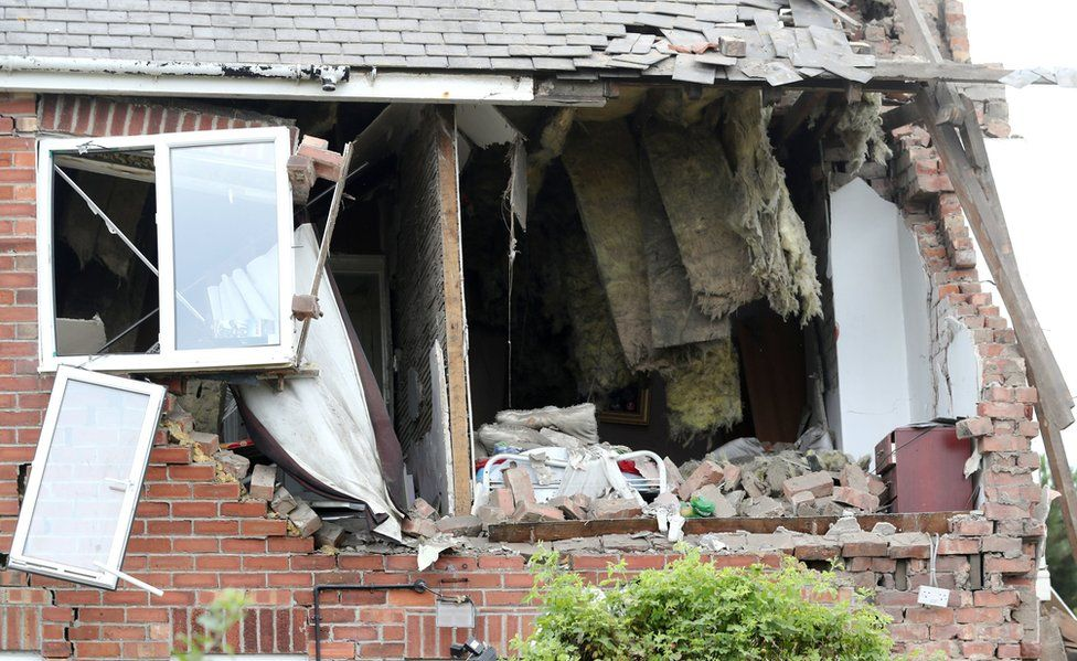 Close up of the damaged house