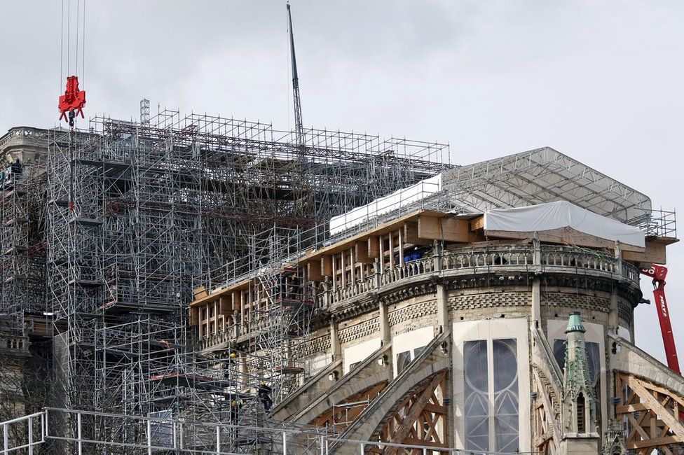 Scaffolding is seen on the Notre-Dame cathedral