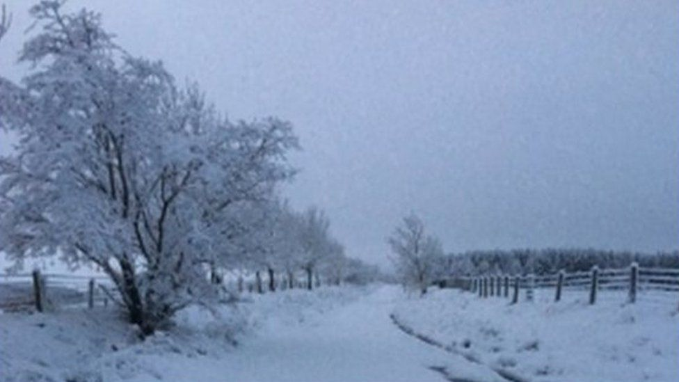 Snowy landscape in the Scottish Borders