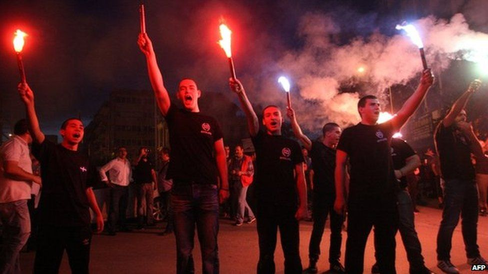 A Golden Dawn rally in Athens