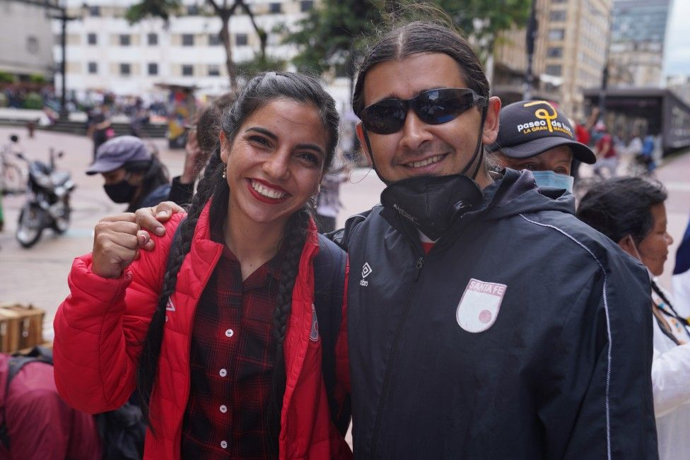Ernesto Herrera (right) at a protest in Bogotá on 12 May 2021