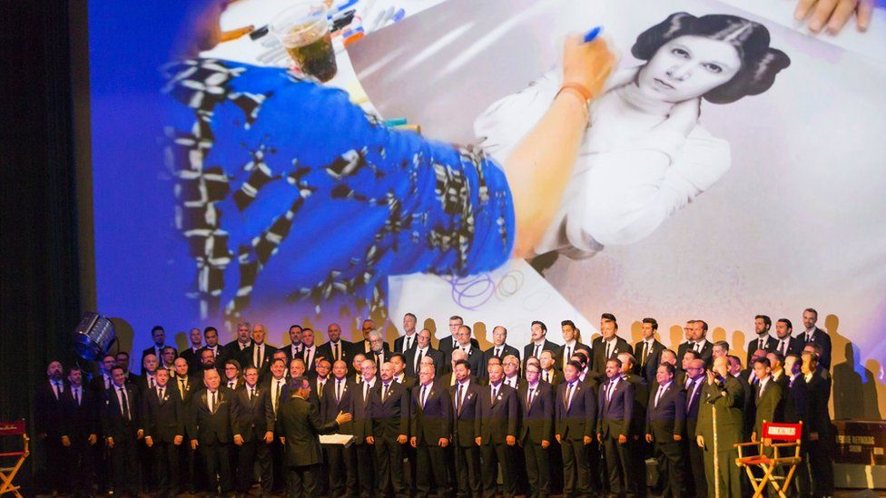 The Gay Men's Chorus of Los Angeles performing at the memorial service for Debbie Reynolds and Carrie Fisher