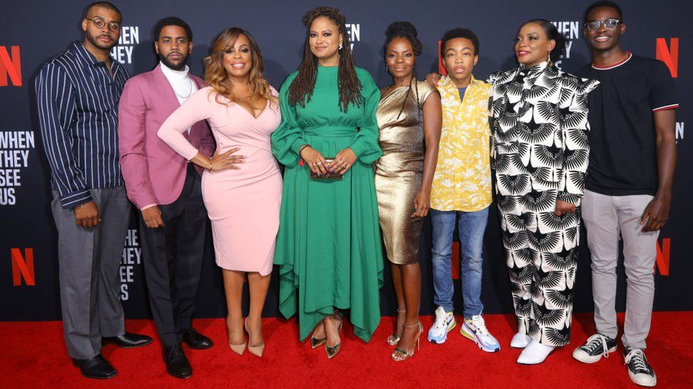 Ava DuVernay and some of the cast of When They See Us