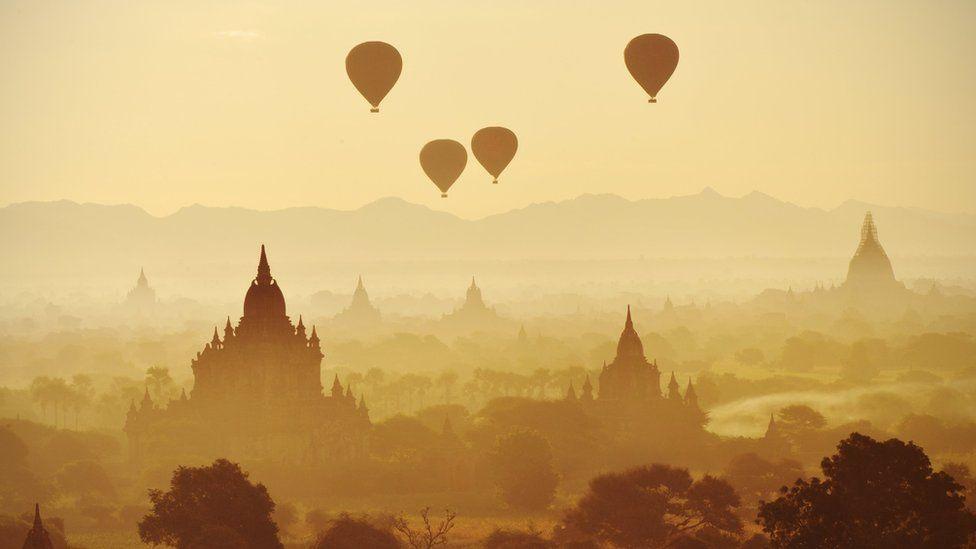Bagan with hot air balloons