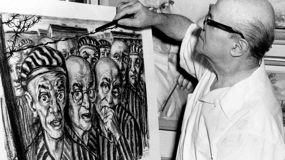Friedman pintando a pintura 'Libertação?'