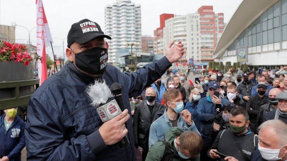 Sergei Tikhanovsky speaks at a rally in Minsk, Belarus. Photo: May 2020