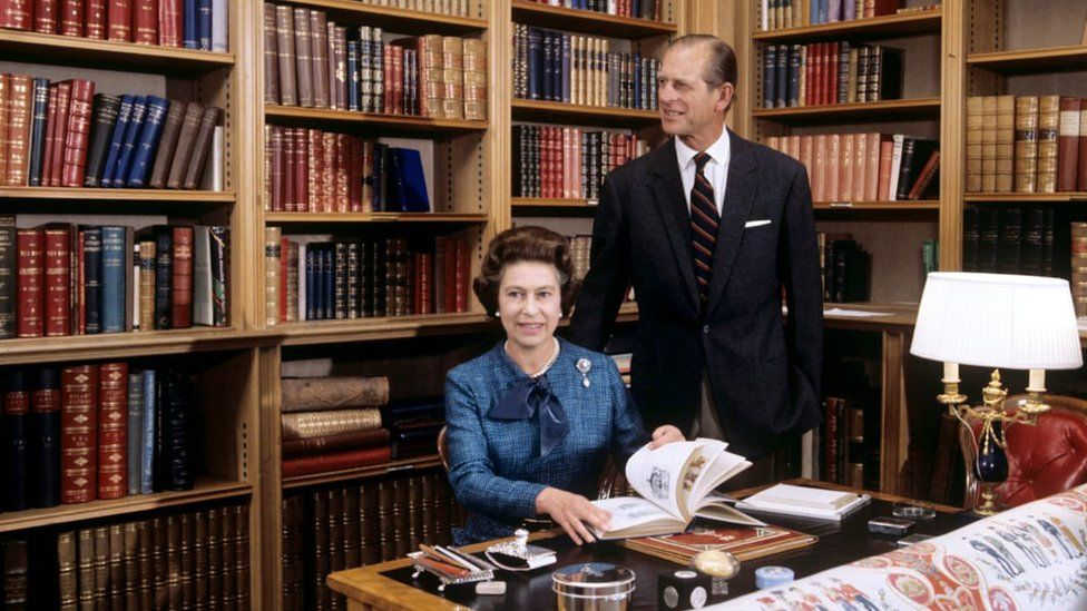 The Queen and Duke of Edinburgh in Balmoral Castle's library in 1976