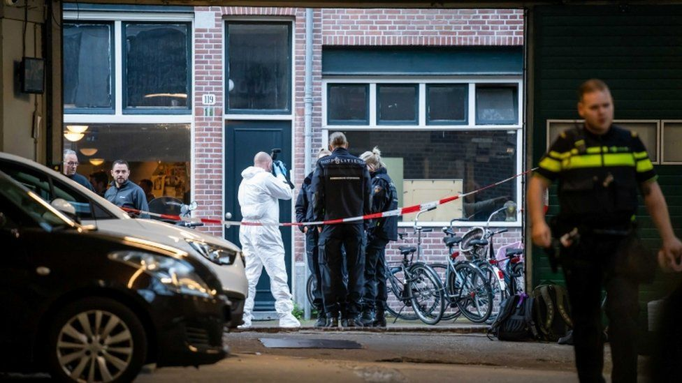 Forensic investigation in the vicinity of the Lange Leidsedwarsstraat in Amsterdam, the Netherlands