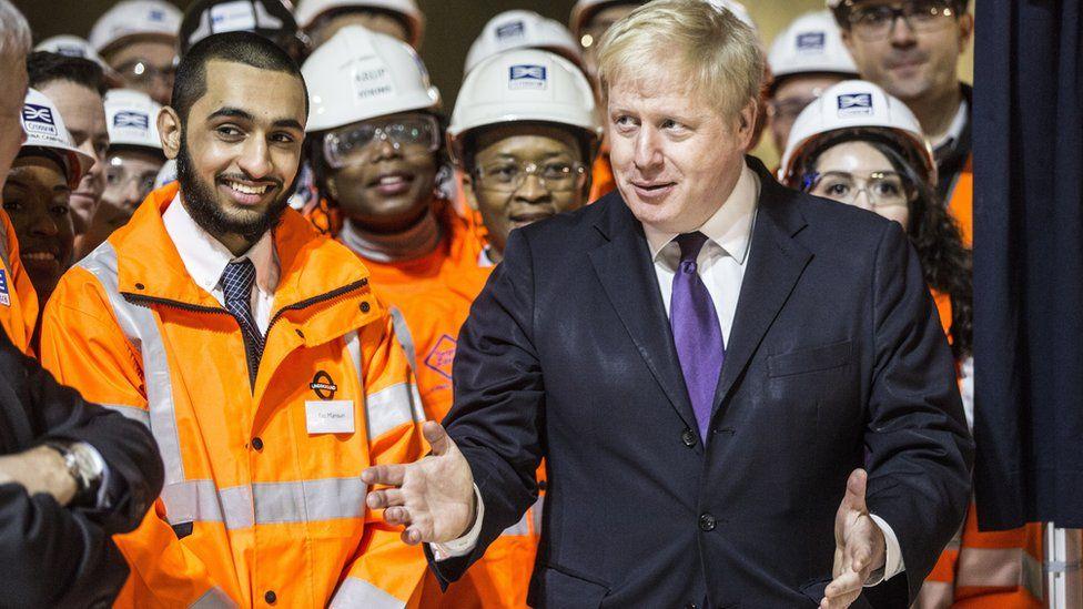 Boris Johnson and Crossrail workers