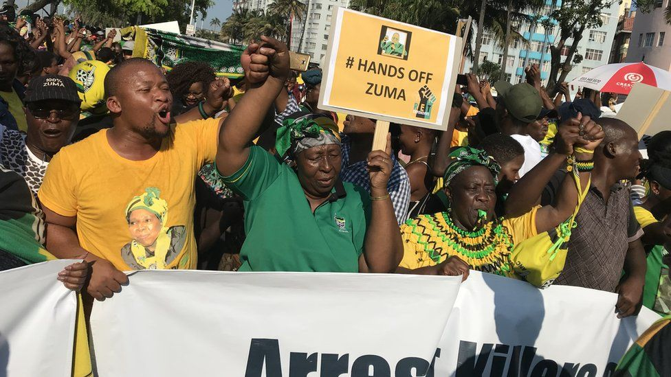 Jacob Zuma supporters in Durban April 2018