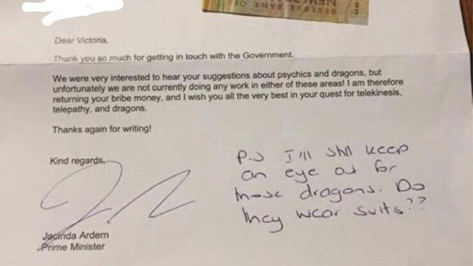 Letter reply from Jacinda Ardern