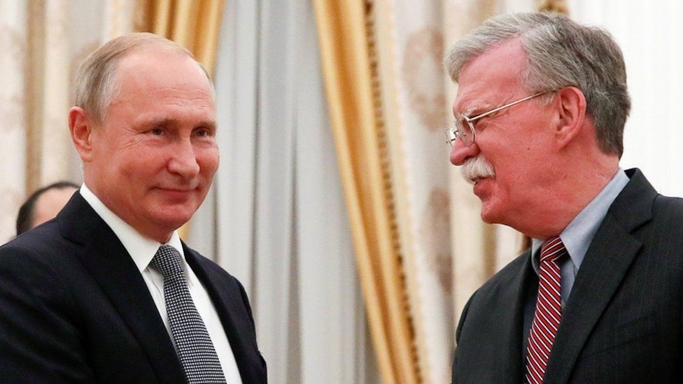 Mr Bolton spent about 90 minutes with the Russian president