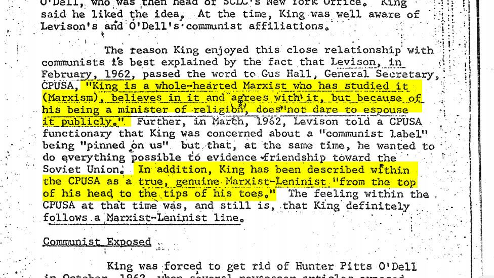 A section showcasing King's alleged communist sympathies