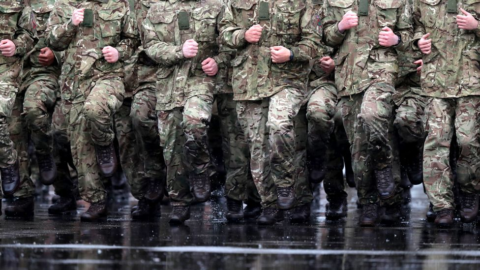 British soldiers marching in the rain