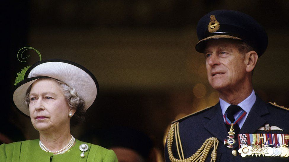 The Queen and Prince Philip attend the Gulf War Victory Parade in the City of London on June 21, 1991 in London, England