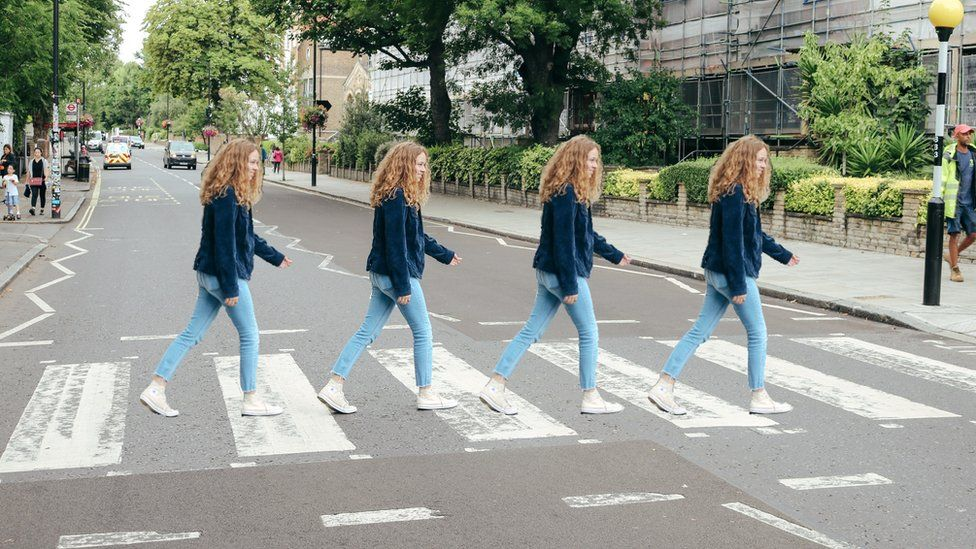 Four pictures of Amy Holman across the Abbey Road crossing.