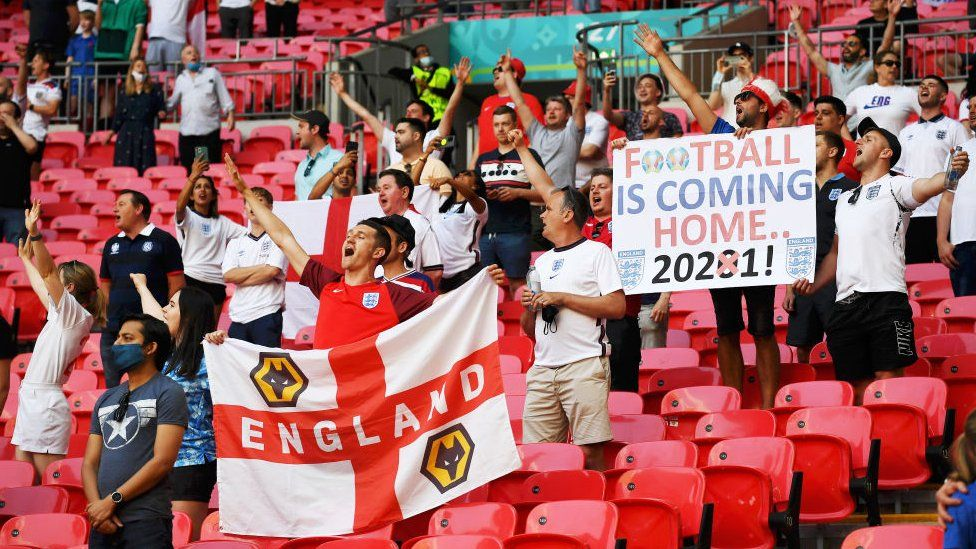 Supporters watch England play Croatia at Wembley