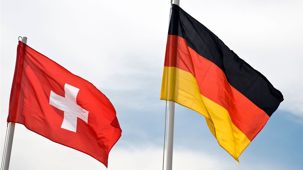 The Swiss and German flags