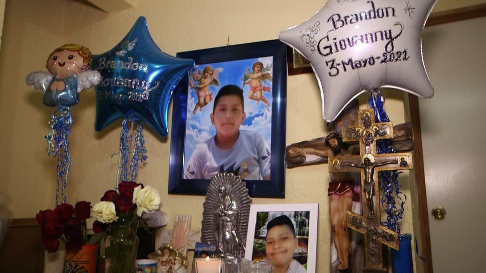An altar to Brandon in his mother's home