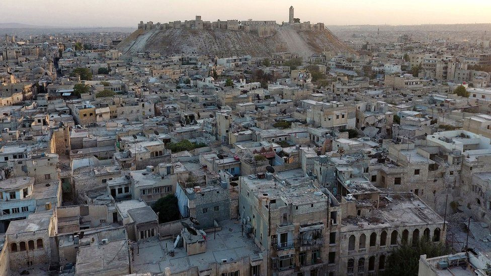 A general view taken with a drone shows Aleppo's historic citadel as seen from a rebel-held area of Aleppo, Syria, 12 October 2016