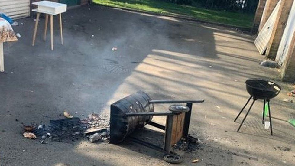 Tipped over barbecue