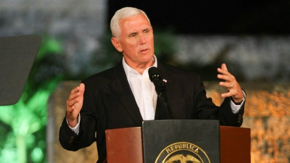 US Vice President Mike Pence speaking in Cartagena, Colombia 13 August 2017