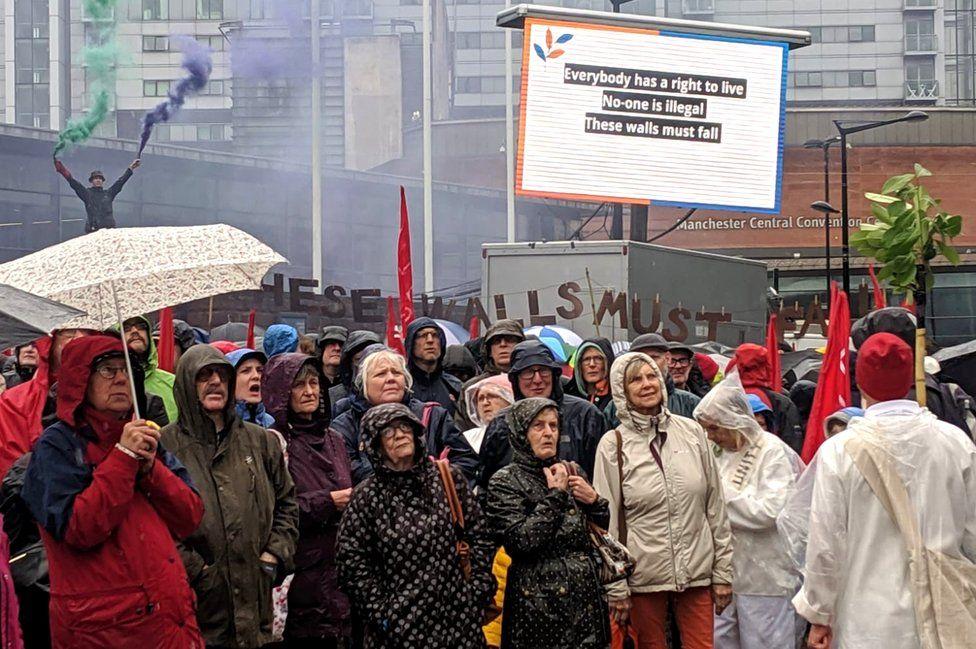 People taking part in the Peterloo memorial performance