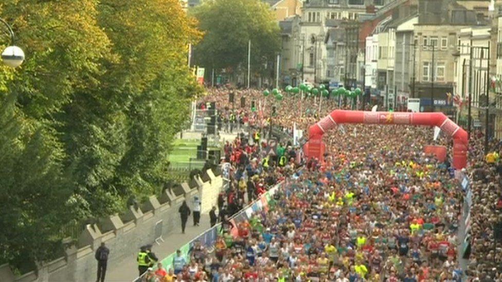 Runners at start of Cardiff Half Marathon