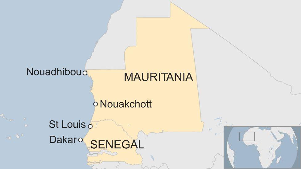 Map of Senegal and Mauritania