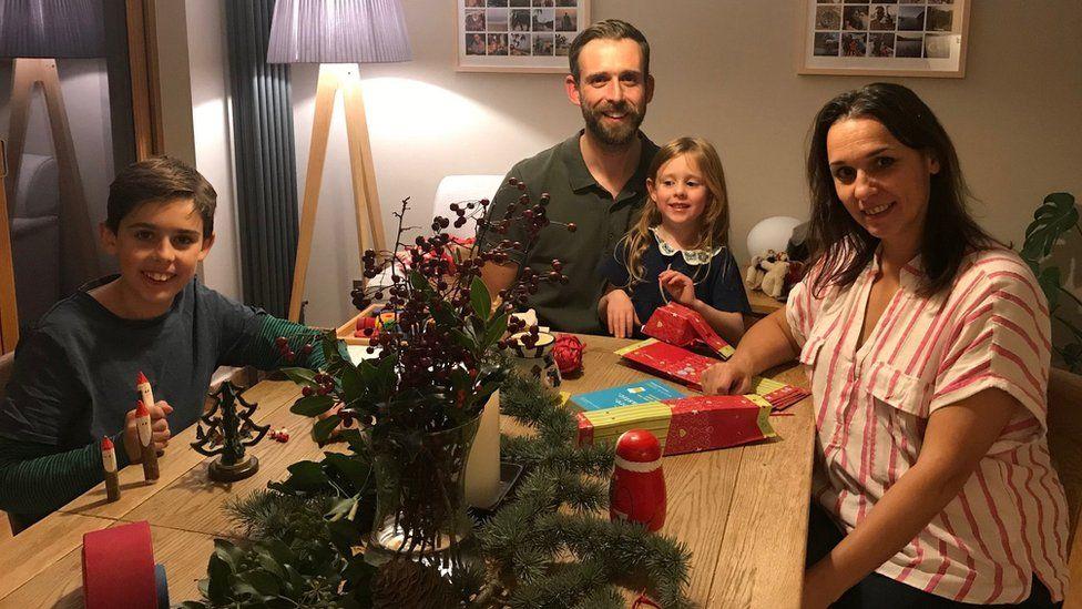 Hoye family at Christmas table