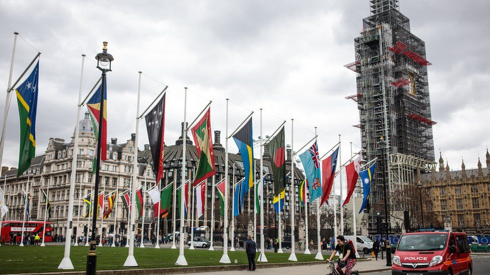 Flags of Commonwealth nations flying at Westminster