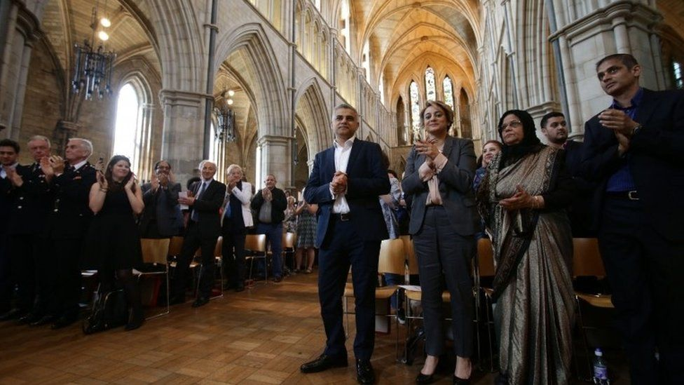 Sadiq Khan with his family at Southwark Cathedral