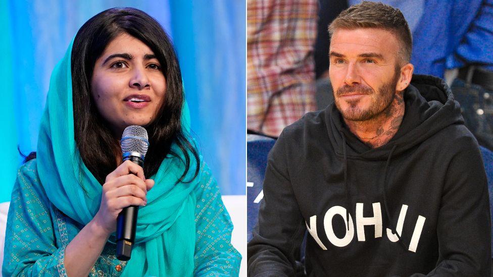 Malala Yousafzai and David Beckham